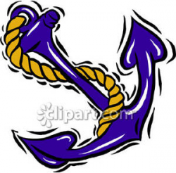 Blue Ship Anchor - Royalty Free Clipart Picture