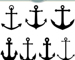 ANCHOR clip art white anchor digital clip art nautical