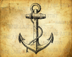 Vintage Ship Anchor Sailboat Clipart Lineart Illustration
