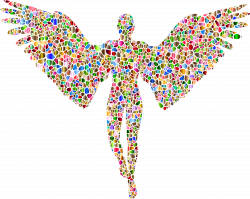 Clipart - Chromatic Tiled Angel Silhouette No Background