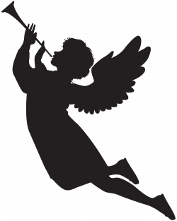Angel with Fanfare Silhouette PNG Clip Art Image | Gallery ...