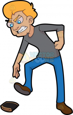 An Angry Man Stepping On His Wallet
