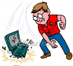 An Angry Man Throwing His Computer To the Ground Royalty Free ...