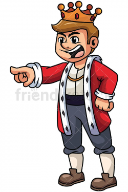 Angry King Yelling And Pointing Vector Cartoon Clipart