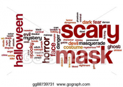 Stock Illustration - Scary mask word cloud. Clipart Drawing ...