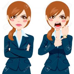 Angry boss women cartoon clipart