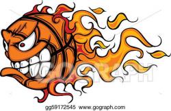 Vector Clipart - Flaming basketball face cartoon. Vector ...