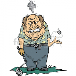 Angry golfer holding a broken golf club clipart. Royalty-free clipart #  169232