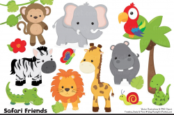 Cute Jungle Animal Clipart ~ Illustrations ~ Creative Market