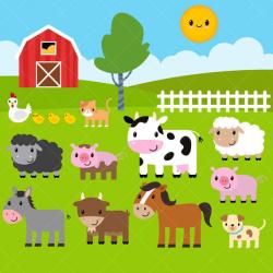 Farm Animals Clipart / Farm Clip Art / Barnyard Animals from ...