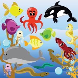 Sea animals clipart Sea clip art Digital clipart animals