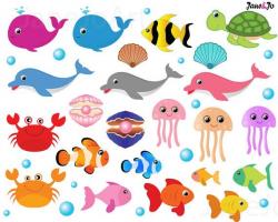 46 Sea Animals Clipart,Sea Animal Clip art,under the sea clipart ...