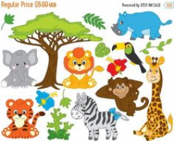 Zoo Animal Clip Art, Zoo Animal Clipart, Safari Jungle Animal ...