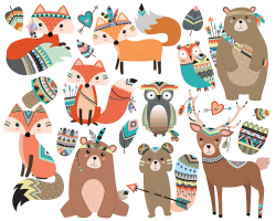 Woodland Tribal Animals Clipart Vol. 2 Set of 19 Vector PNG