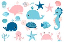Cute sea animals clipart, Kawaii under sea clip art, seahorse whale ...