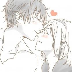 Romantic anime couples clipart