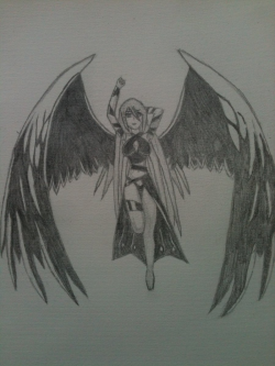 28+ Collection of Dark Angel Wings Drawing Anime | High quality ...