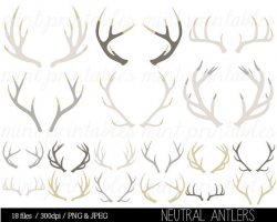 Antler Clipart, Antler silhouette clip art, stag, reindeer antler ...