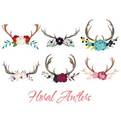 Floral Antler Clip Art, Deer Clip art, Boho Clip Art, Woodland from ...