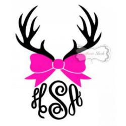 Deer Antlers & Bow Monogrammed Vinyl Decal