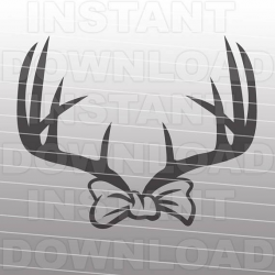 Deer Antler Bow SVG File Cutting Template-Silhouette Clip Art for ...