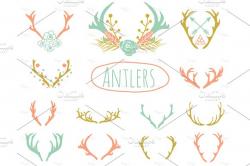 Deer & Antlers Clipart ~ Icons ~ Creative Market