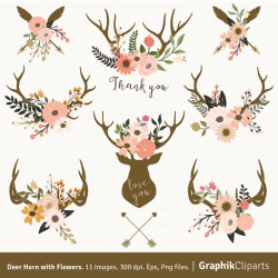 Deer Horn with Flowers. Floral Antlers Clipart Vector