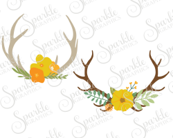 Fall Antler Cut File Floral Fall SVG Fall Antler Fall Flowers ...