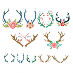 Antlers Reindeer Pack Cuttable Design Cut File. Vector, Clipart ...