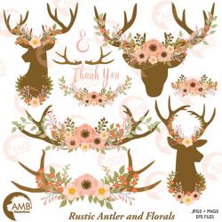 Wedding clip art, Floral Antlers, Antler and Floral Wreath, Floral ...