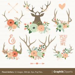 Floral Antlers Clipart. Floral Bouquet, Deer Horns, Vector Flowers ...