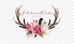 Deer Antler Flower Skull Clip art - watercolor leaves png download ...