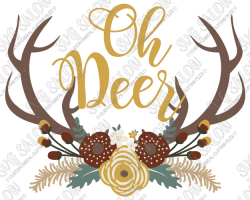 Oh Deer Floral Swag Antlers Custom DIY Vinyl Mug Decal Cutting File ...