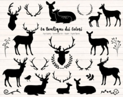 Deer head silhouette | Etsy