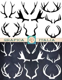 ANTLER ClipArt Elements - 16 Deer Elk Moose Antlers Clip art ...