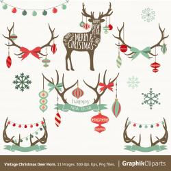 Vintage Christmas Deer Horn Clipart. CHRISTMAS CLIP