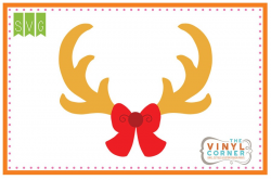 Applique Corner Antlers with Bow SVG Clipart Design