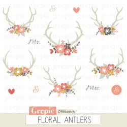 Floral Antlers: Rustic Wedding Clipart, Antler Clip Art, Floral ...