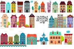 City Buildings Clip Art,22 png ~ Illustrations ~ Creative Market