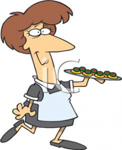 Royalty Free Clipart Image: A Waitress Holding a Tray of Appetizers
