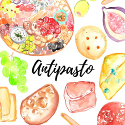 Food clipart Antipasto clipart graphics bread, cheese, meat, illustration  commercial use