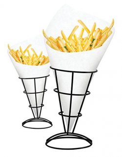 2-Piece French Fry Stand Cone Basket Holder for Fries Fish and Chips ...