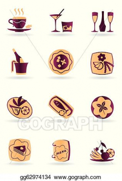 Vector Art - Drinks, dishes and appetizers. Clipart Drawing ...