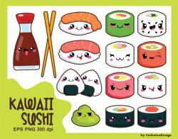 Kawaii clip art, kawaii sushi clip art, kawaii sushi clipart, cute ...