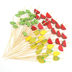 Bamboo Cocktail Picks Fancy Toothpicks for Appetizers Mixed Watermelon  Pineapple Leaf Fruits Kebab Skewers Birthday Wedding Valentine's Day Party  ...