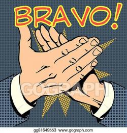 Clip Art Vector - Hands palm applause success text bravo. Stock EPS ...