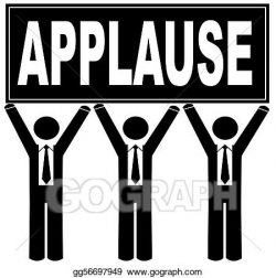 Stock Illustration - Group of men holding sign up that says applause ...