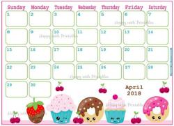 Month April 2018 Calendar Clipart Free Indo Templates