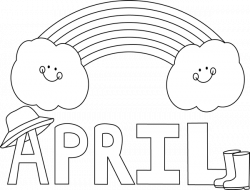 clip art black and white | Black and White Month of April Rainbow ...