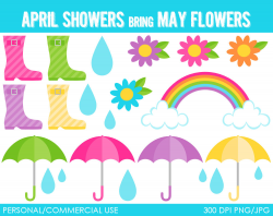 April Showers Borders Clipart